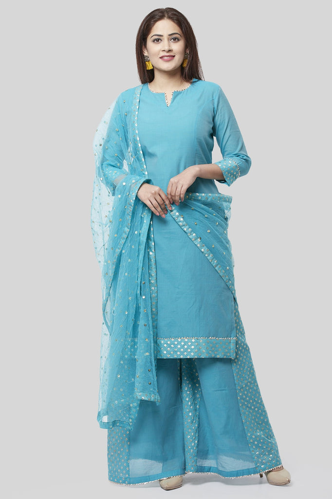 anokherang Combos XS Noor Blue Straight Kurti with Golden Weaved Kalidar Palazzo and Sequenced Dupatta