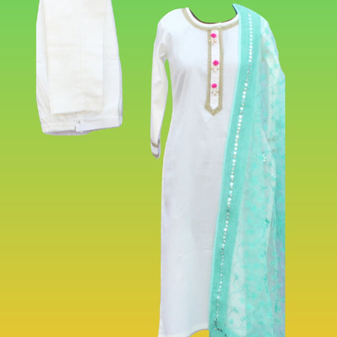 Off-White Gotta Straight Kurti with Straight Pants and Thread Embroidered Mirror Dupatta