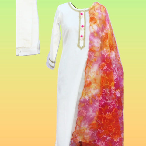 Off-White Gotta Straight Kurti with Straight Pants and Tie-Dye Floral Embroidered Organza Dupatta