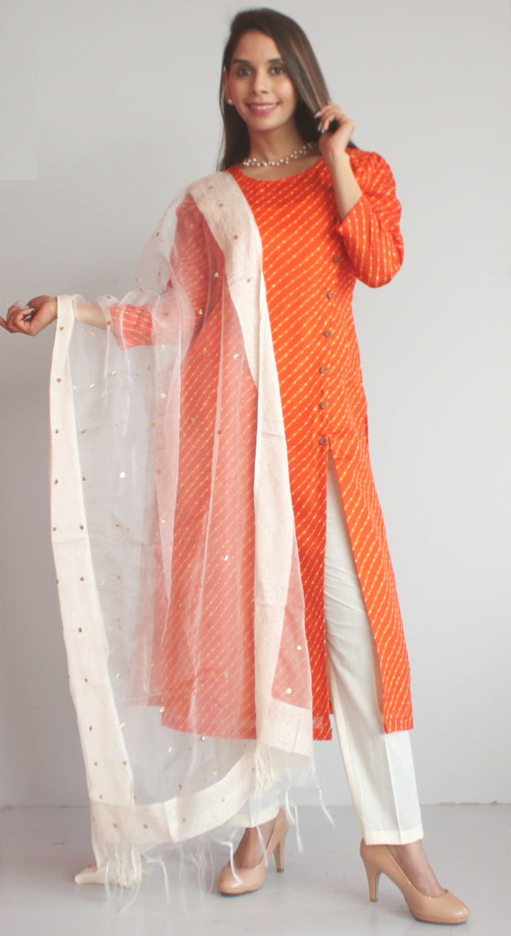 anokherang Combos XS Orange Kota Leheriya Side Buttoned Kurti with Straight Pants and OffWhite Sequenced Dupatta