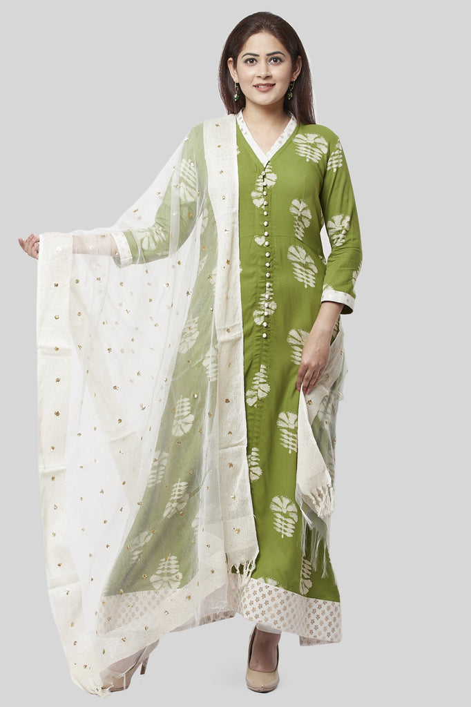 anokherang Combos XS Pale Green Festive Kurti with Off-White Churidaar and Sequenced Organza Dupatta