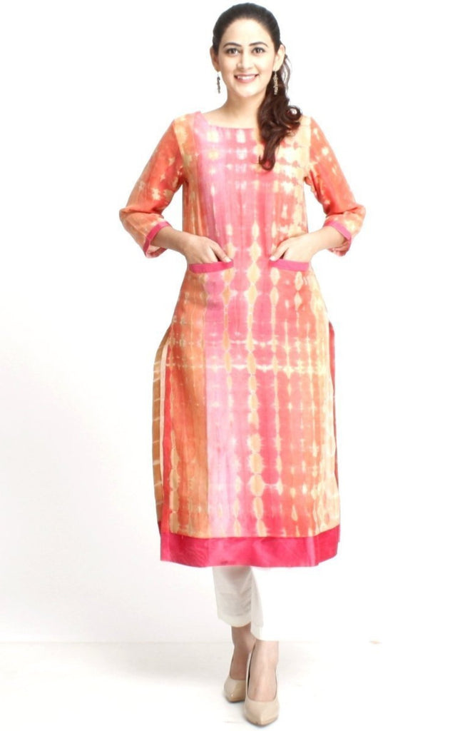 anokherang Combos XS Peach Straight Kurti with Pockets & Straight Pants