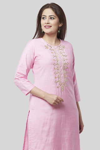 Pearl Blush Embroidered Kurti