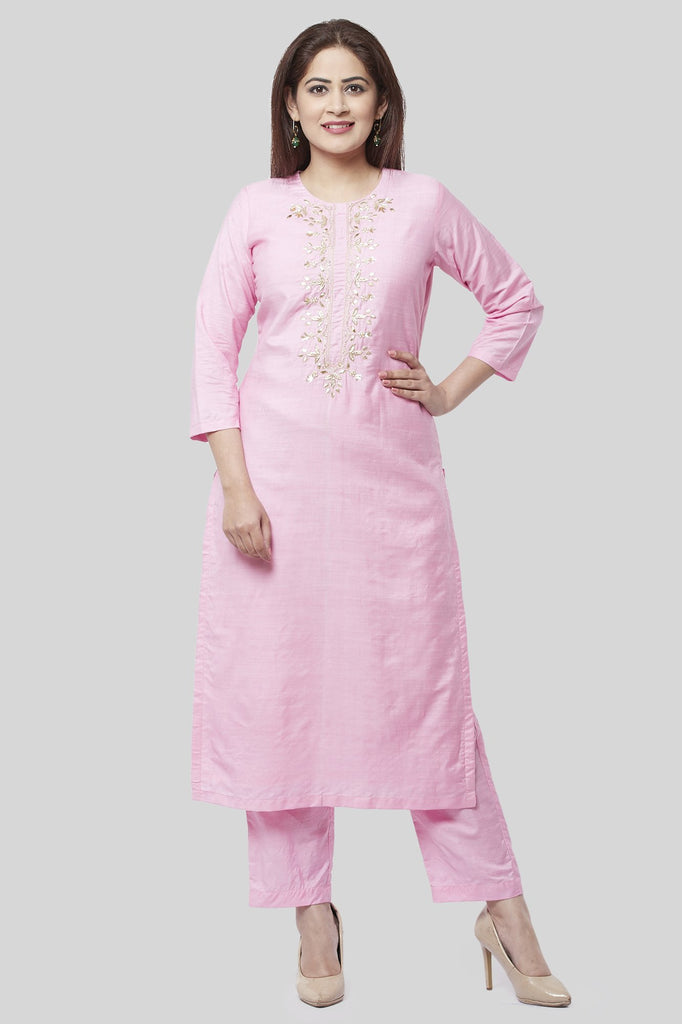 anokherang Combos XS Pearl Blush Embroidered Kurti with Straight Pants