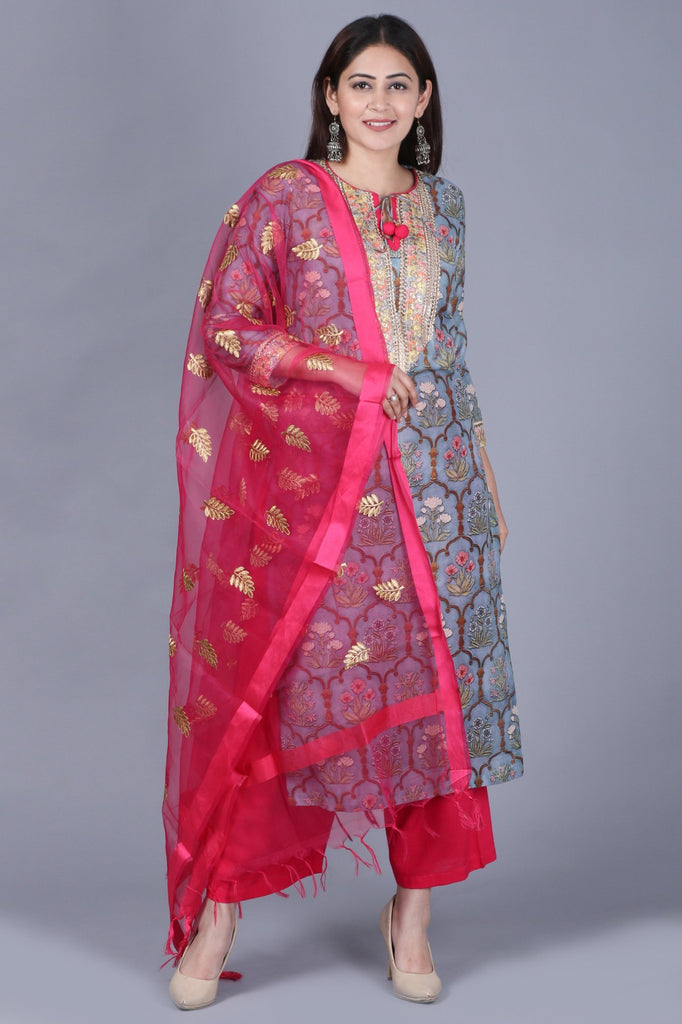 e6796e135c5 anokherang Combos XS Slate Gray Mughal Printed Gotta Straight Kurti with  Straight Palazzos and Pink Embroidered