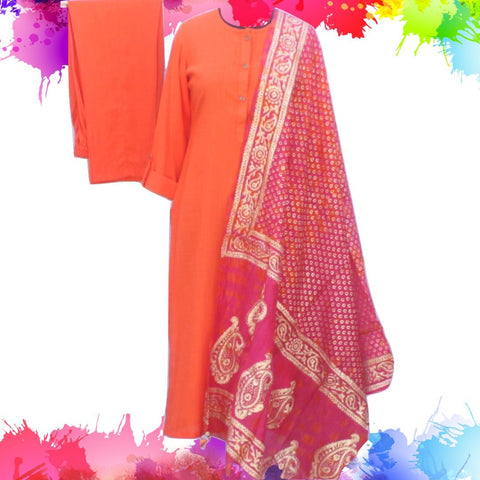 Sunshine Orange Straight Kurti with Straight Pants and Silk Foil Printed Dupatta