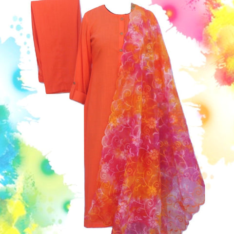 Sunshine Orange Straight Kurti with Straight Pants and Tie-Dye Floral Embroidered Organza Dupatta