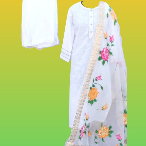 White Gotta Straight Kurti with Straight Pants and Floral Hand Painted Gotta Organza Dupatta