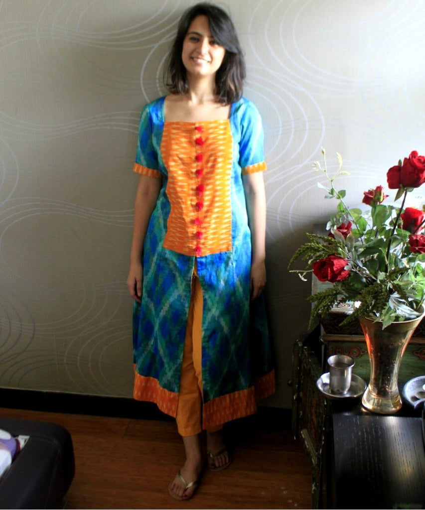 anokherang Combos YellBe Front Ikkat Kurti with Straight Pants