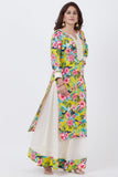 anokherang Combos Yellow Floral Kurti with Off-White Skirt