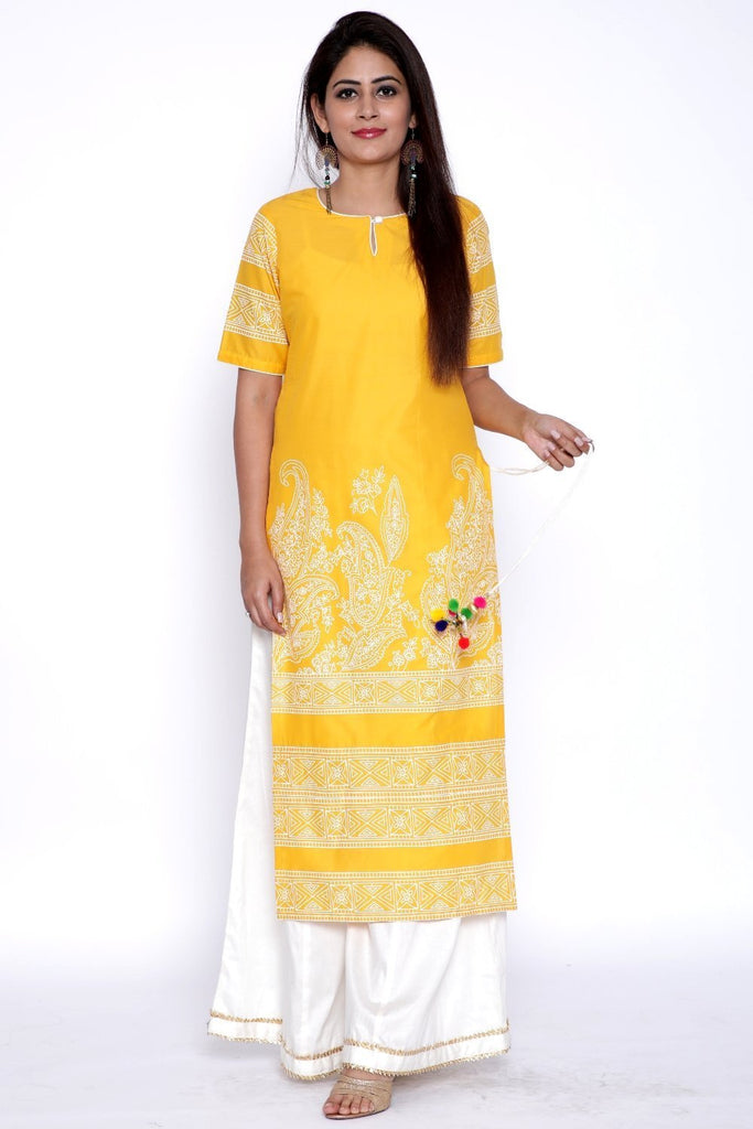 anokherang Combos Yellow Paisley Straight Kurti with Flared Palazzo