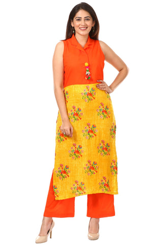 Yellow Printed Birds Kurti with Straight Pants