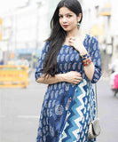 anokherang Dress Blue Escapade Long Uneven Patterned Indigo Dress