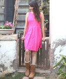 anokherang Dress Pink Hakooba Box Pleated Knee Length Dress