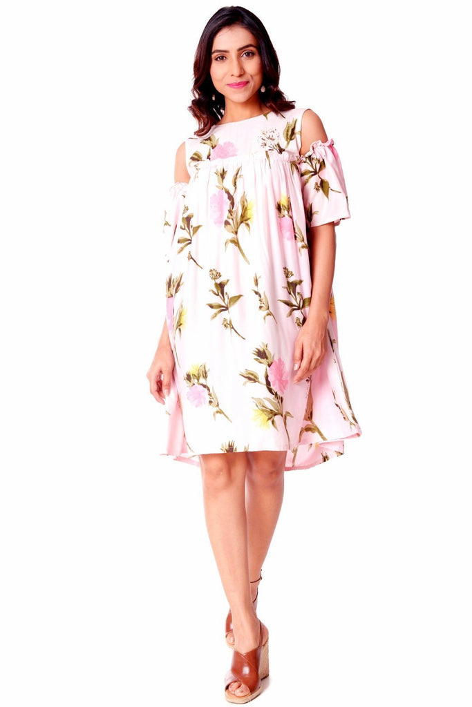 anokherang Dress Rose Pink Knee Length Cold Shoulder Dress