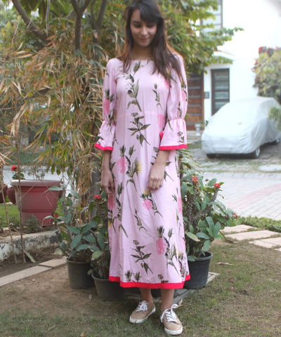 Rose Pink Maxi Dress with Bell Sleeves