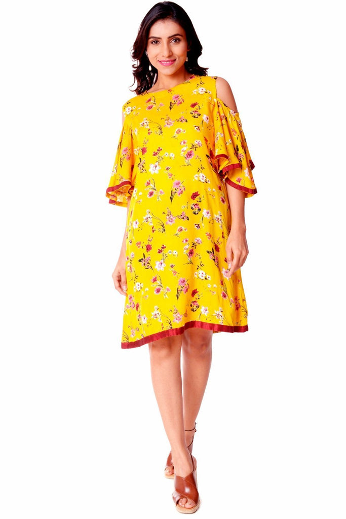 anokherang Dress Sunshine Floral Knee Length Cold Shoulder Dress