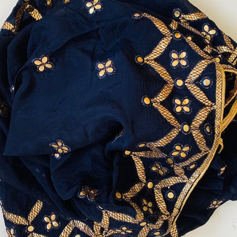 Azure Blue Gotta Patti Embroidered Dupatta