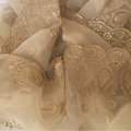 Dancing Paisley Gold Thread Embroidered Dupatta