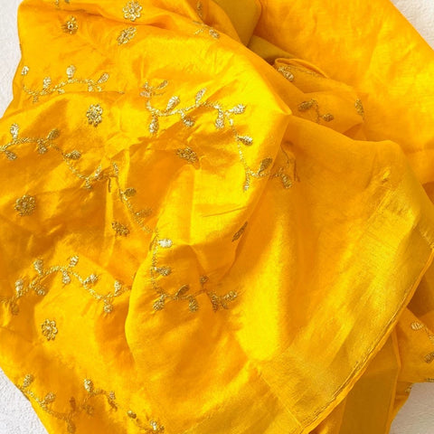 Dandelion Yellow Floral Trails Dupatta