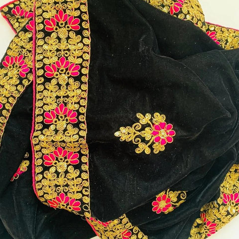 Embroided Black Beauty Velvet Stole