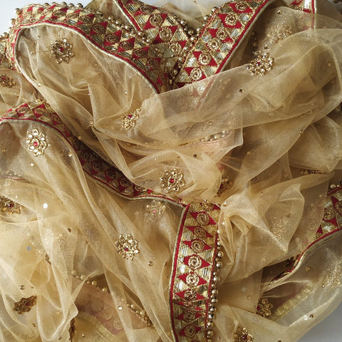 Gold Net Thread Stone Embroidered Dupatta