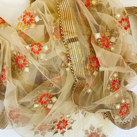 Golden Gotta and Thread Embroidered Dupatta