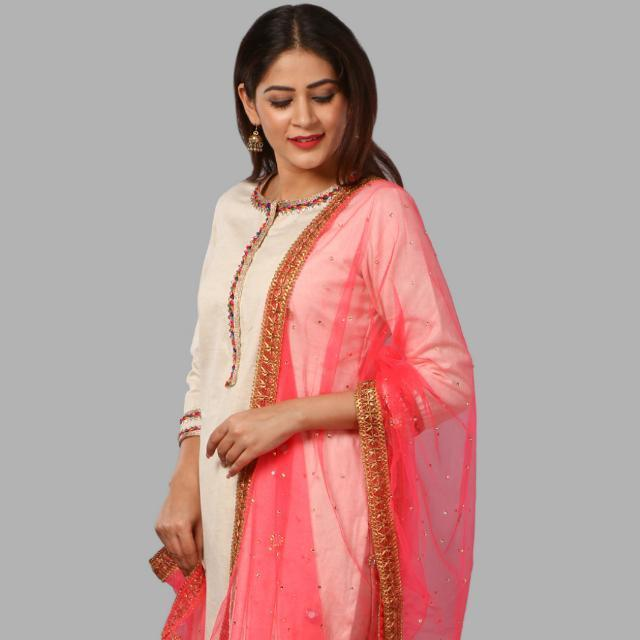 anokherang Dupattas Hot Carrot Pink Mirror and Stone Net Dupatta