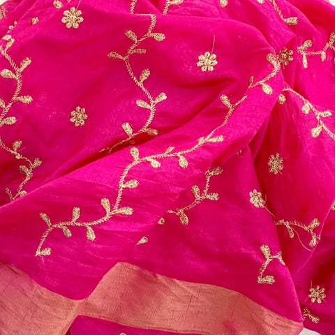 Hot Pink Floral Zari Trails Silk Dupatta