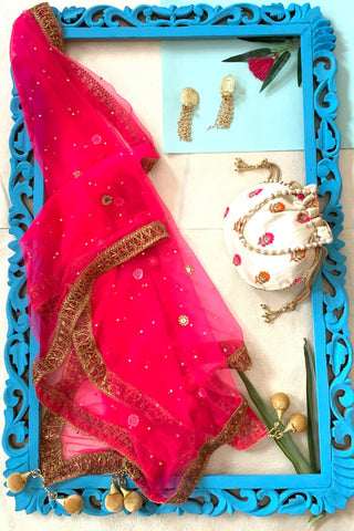 Hot Pink Mirror Dupatta with Ivory Potli and Pearl String Studs