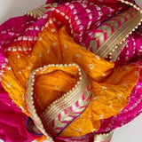 Multi-Color Silk Bandhej Dupatta