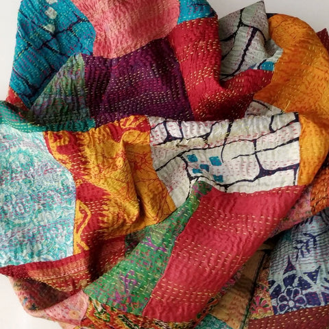 Multicolored Kantha Embroidered Dupatta