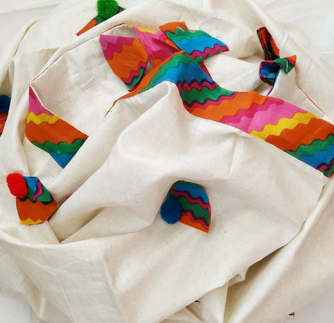 Multicolored Patterned Pom-Pom Dupatta