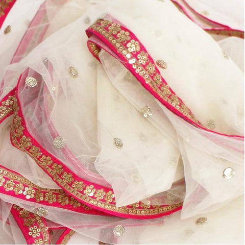 Off-White Net Sequenced Dupatta with Hot Pink Border