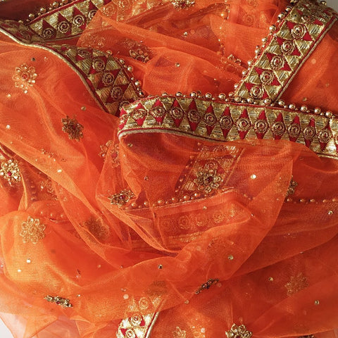 Orange Net Gold Thread Stone Embroidered Dupatta
