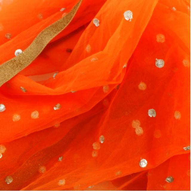 anokherang Dupattas Orange Net Sequenced Dupatta with Light Gotta Work