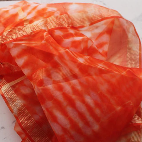 Orange White Tie Dye Organza Dupatta