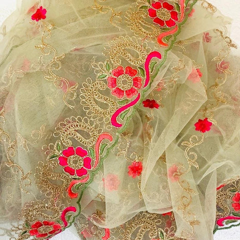 Pastel Green Colorful Floral Embroided Net Dupatta