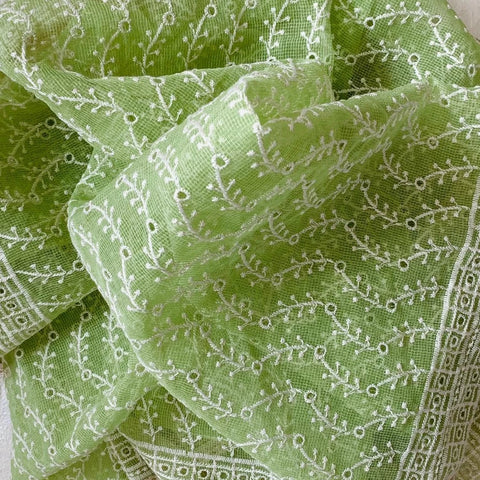 Pear Green Floral Embroidered Hakooba Corron Dupatta
