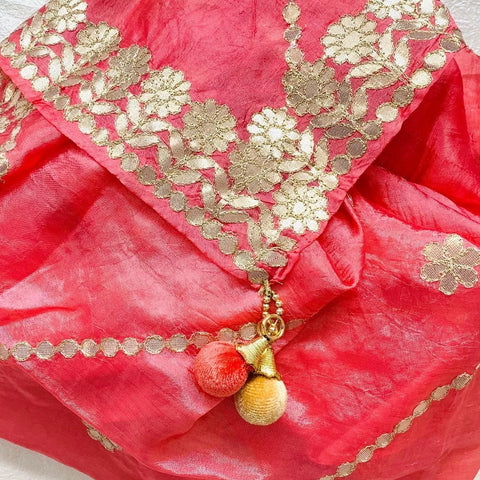 Peach Gotta Floral Embroidered Silk Dupatta