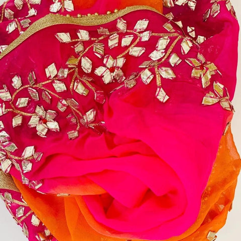 Pink Punch Colorful Floral Embroidered Chiffon Dupatta