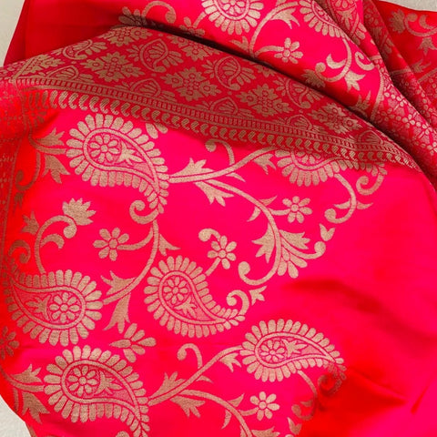 Pink Punch Paisley Embroidered Silk Stole