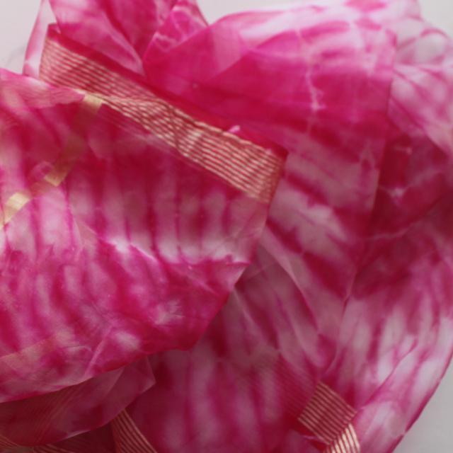 afbd0d33af3a anokherang   Pink White Tie-Dye Organza Dupatta   Ethnic Fashion in all  sizes from XS to Plus Sizes
