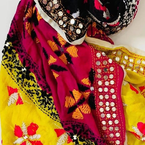 Pink Yellow and Black Phulkari Dupatta