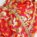 Pink Yellow Red Mothra Georgette Dupatta