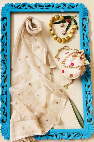 Pure Sequence Dupatta with Ivory Potli and HandPainted Jhumki