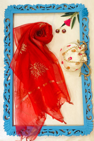Red Festive Dupatta with Ivory Potli and Hand Painted Jhumki