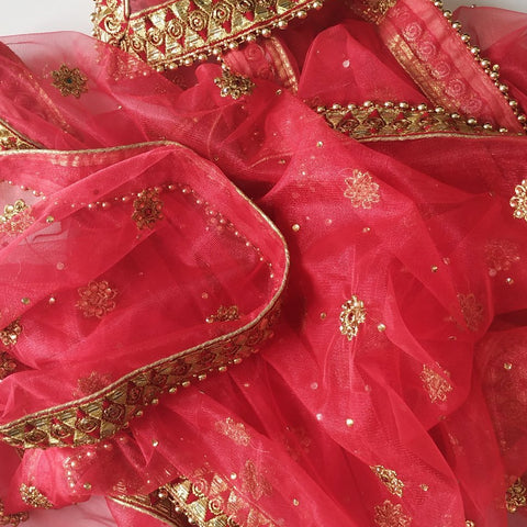 Red Net Gold Thread Stone Embroidered Dupatta