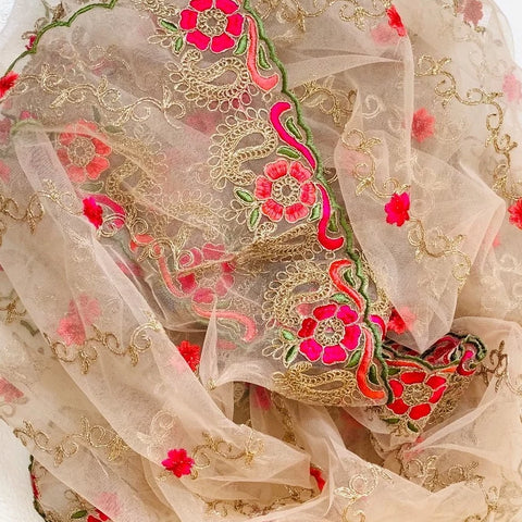 Rose Pink Colorful Floral Embroidered Net Dupatta