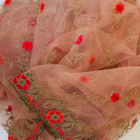 Rose Pink Colorful Floral Embroided Net Dupatta